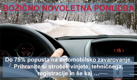 Božično Novoletna ponudba: avtomobilsko zavarovanje do 75% ceneje!