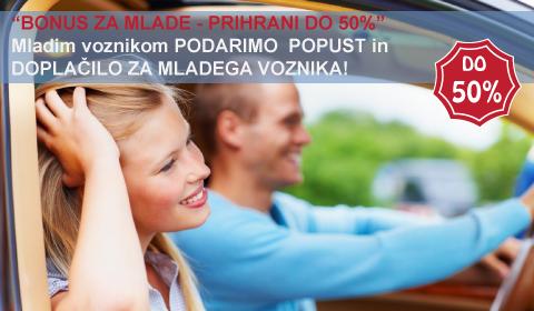 Mladim voznikom ob sklenitvi avtomobilskega zavarovanja poleg izrednega popusta PODARIMO ZAVAROVANJE MLADEGA VOZNIKA!